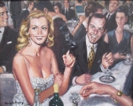 Anita Ekberg and Frank Sinatra. Dinner. Figurative Malerei, Thomas de Marsay